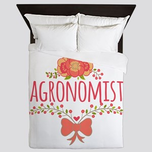 Cute Floral Occupation Agronomist Queen Duvet